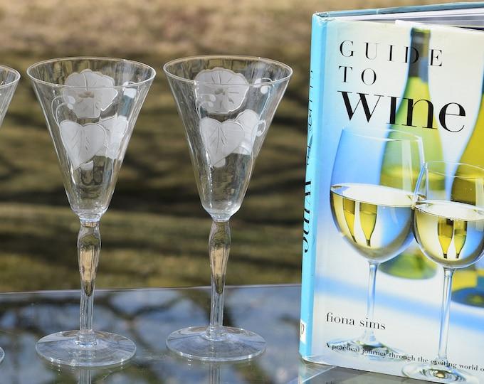 4 Vintage Satin Etched Water Goblet - Wine Glasses, Tall Etched Wine Glasses, Vintage Champagne Glasses, Summer Cocktail glasses