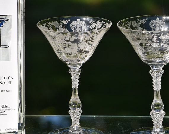 Vintage Etched Cocktail ~ Martini Glasses, Set of 4, Cambridge, Rose Point, circa 1934, Mixologist Craft Cocktails ~ Champagne Glass