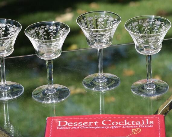 Vintage Acid Etched CRYSTAL Liquor ~ Wine Glasses, Set of 5,  3 oz After Dinner Drink Glasses ~ Port ~ Dessert