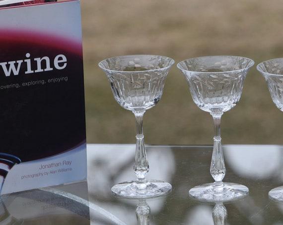 Vintage Etched Wine Liquor - After Dinner Drink Cordials , Set of 4, Tiffin Franciscan, circa 1950, Vintage 3 oz Wine Liquor Glasses