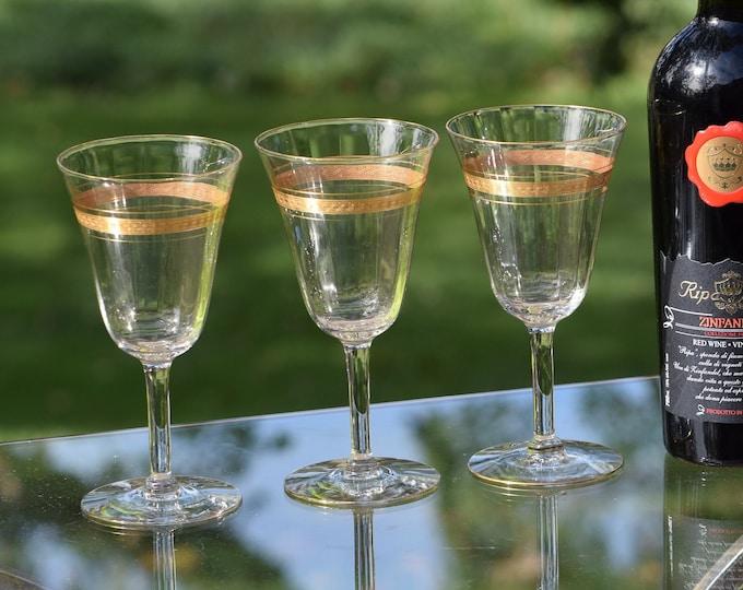 6 Vintage Gold Rimmed Encrusted Wine Glasses, Fostoria ~ Cascade ~ 1920's,  Vintage Wedding Glasses, Gold rimmed wine glasses