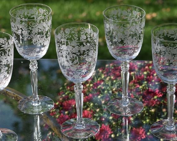 Vintage Etched CRYSTAL Wine Glasses, Set of 5, Fostoria, Buttercup, circa 1940's, Vintage Etched Water Goblets, Vintage Wedding Wine Glasses