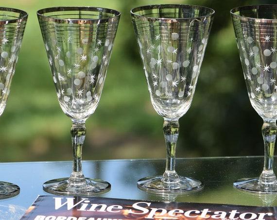 Vintage Wine Glasses, Silver Striped and Etched Set of 6 Vintage Elegant Platinum Rimmed Wine Glasses, Wedding Gifts, Vintage Cocktail Glass