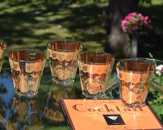 Vintage CULVER Whiskey ~ Scotch ~ Bourbon Flared Double Old Fashioned glasses, Set of 7, Culver Barware 1950's, Vintage Cocktail Glasses
