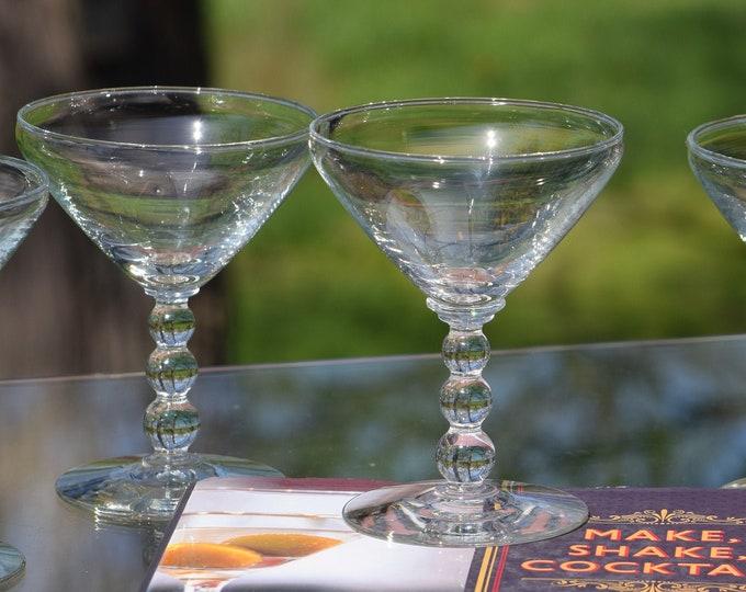 6 Vintage Cocktail - Martini Glasses, Candlewick, circa 1950's, Vintage Round Balled Stem Cocktail Champagne glasses, Cocktail Party glasses