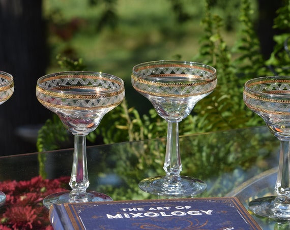 Vintage Gold Encrusted - Needle Etched Cocktail glasses, Set of 4, 1920's,  Needle Etched Champagne Coupes