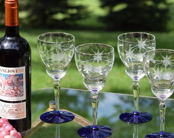Vintage Etched with Cobalt Blue Wine Glasses, Set of 5,  circa 1950, Vintage Etched Blue Foot Cocktail glasses, Wine Party Glasses