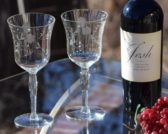 Vintage Etched Wine Glasses, Set of 6, Vintage Wedding Glasses, 1950's, Vintage Water Goblets, Vintage Etched Cocktail Glasses