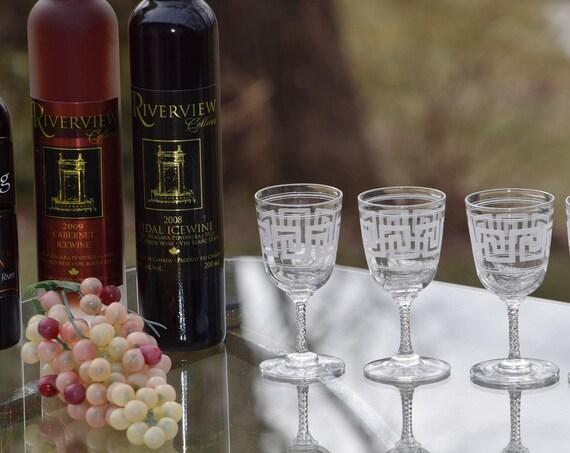 Vintage Etched Crystal Wine ~ Liquor Cordials, Set of 5, 1950's After Dinner Drink Glasses, Port Wine Glass, 2 oz Twisted Stem Wine Cordials