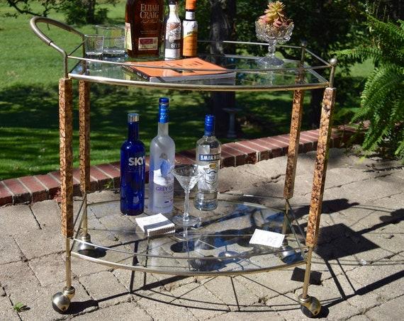 Vintage Gold Cocktail Bar Cart, Cocktail Party Cart, Mad Men Style Cocktail Bart Cart, Gold Bar Cart, Vintage Drink Trolley