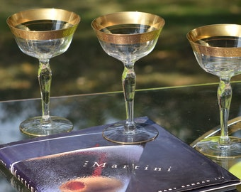 Vintage Gold Encrusted Cocktail - Martini Glasses, Set of 4, Glastonbury Lotus, Rambler Rose, 1940's, Vintage Gold Rimmed Cocktail Glasses