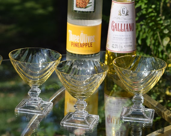 Vintage Yellow Crystal Cocktail Glasses, Set of 4, Tiffin Franciscan, Yellow Mandarin Festoon Optic, 1930's Vintage Yellow Champagne Glasses