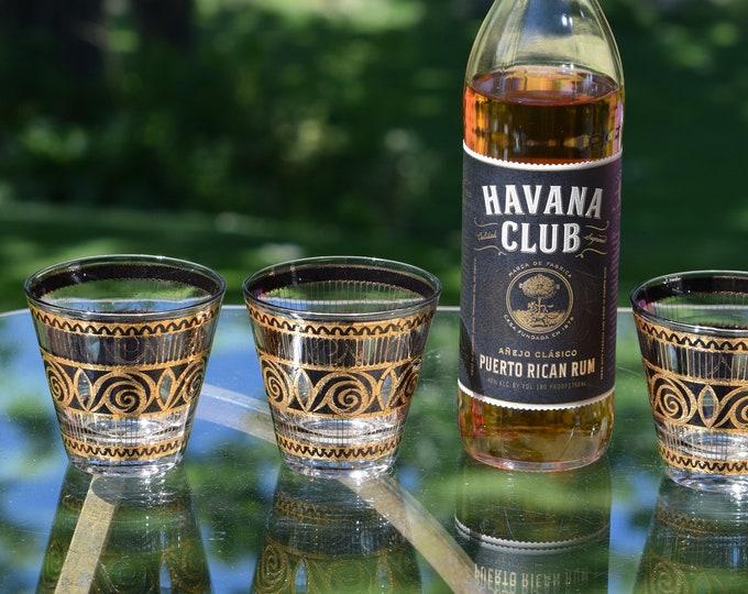 4 Vintage CULVER Black & Gold Lowball Glasses, Culver, 1940's, Vintage Whiskey Bourbon Scotch Flared Rocks Glasses, Home Bar Lowballs