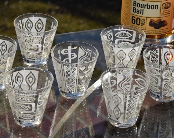 Vintage Mid Century Double Shot Glasses, Set of 7, Vintage Whiskey, Tequila Glasses, 3 oz Double Shot Glasses, Home Bar Glasses