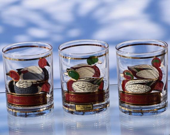 Vintage Culver Duck Wildlife Whiskey Glasses, Set of 4, Bourbon Scotch Whiskey Rocks Glasses, 14 oz Whiskey Glasses, Culver Cocktail glasses