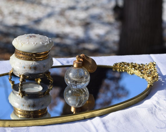 Vintage Gold Brass Vanity Perfume Mirrored Tray,  circa 1950's,  Vintage Shabby Chic Mirrored Home Decor ~ Candle ~ Tray