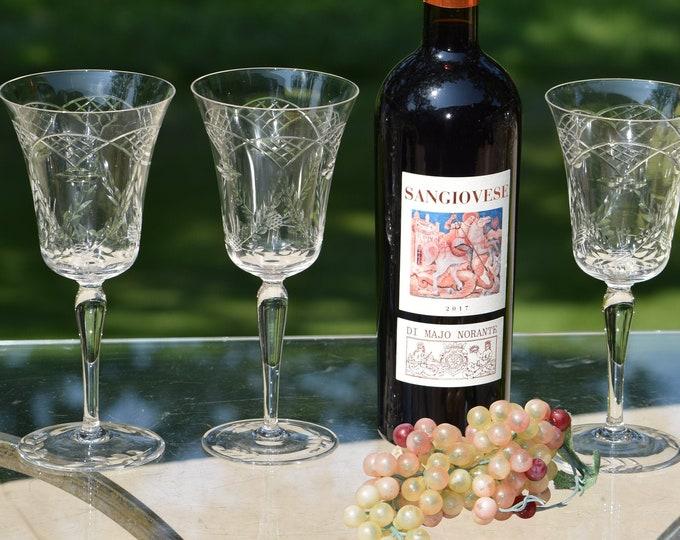 4 Vintage Etched Crystal Wine Glasses, circa 1950's, Tall Vintage Etched Wine Glasses, Wedding Toasting Glasses, Vintage Wedding Glassware