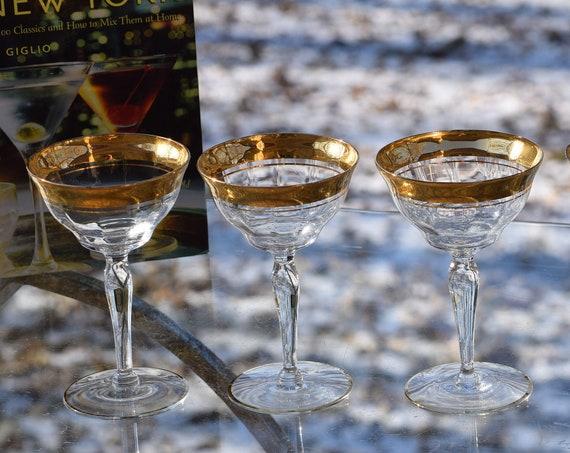Vintage GOLD Encrusted Cocktail Glasses, Set of 4, Cocktail Party Glasses, Mixologist Gold Rimmed Champagne Glasses, Gold Cocktail Glasses