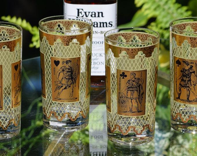4 Vintage 22KT Cocktail Highball Glasses, Vintage Whiskey Bourbon Glasses, Card Party Cocktail Glasses, Poker - Card Highball Glass
