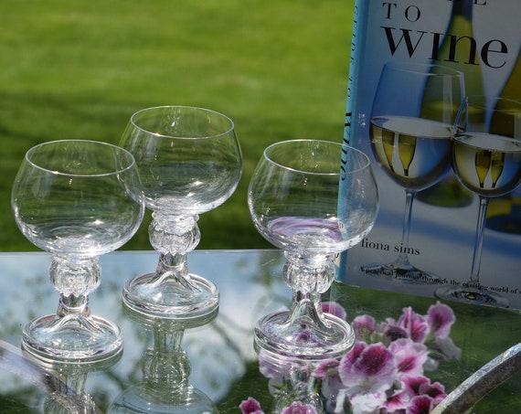 Vintage Wine Glasses, Set of 4,  1950's Wine Goblets, Vintage Summer Cocktail Glasses,  Unique Stem Wine Glasses