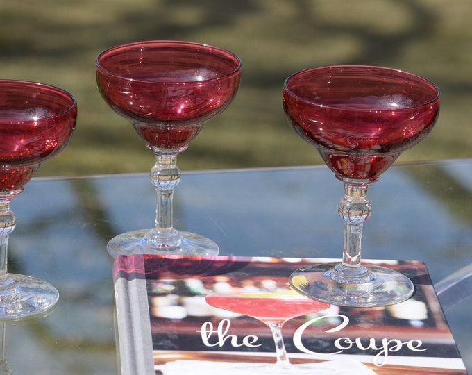 4 Vintage Red Crystal Cocktail Glasses - Coupes, Set of 4,  Mixologists Ruby Red Cocktail Glasses, Cocktail Party - Champagne Glasses