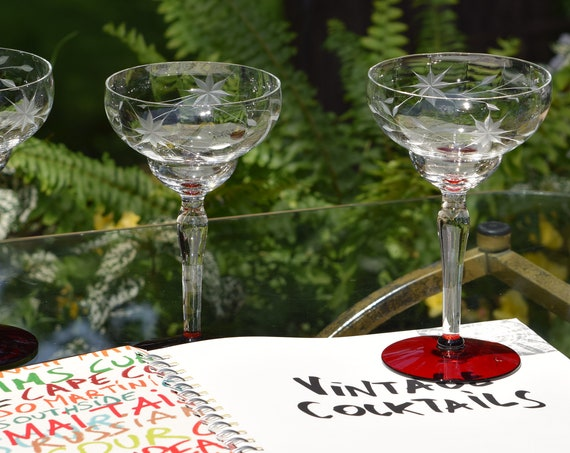 Vintage Etched RED Cocktail Glasses, Set of 4,  1950's, Vintage Etched Margarita - Champagne Glasses, Wedding Gifts, Craft Cocktail glasses