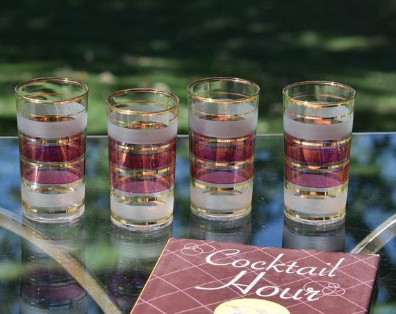 Vintage Mid Century Pink & Gold Highball Glasses ~~ Vintage Whiskey, Bourbon, Liquor Glasses, Mixologists Cocktail glasses