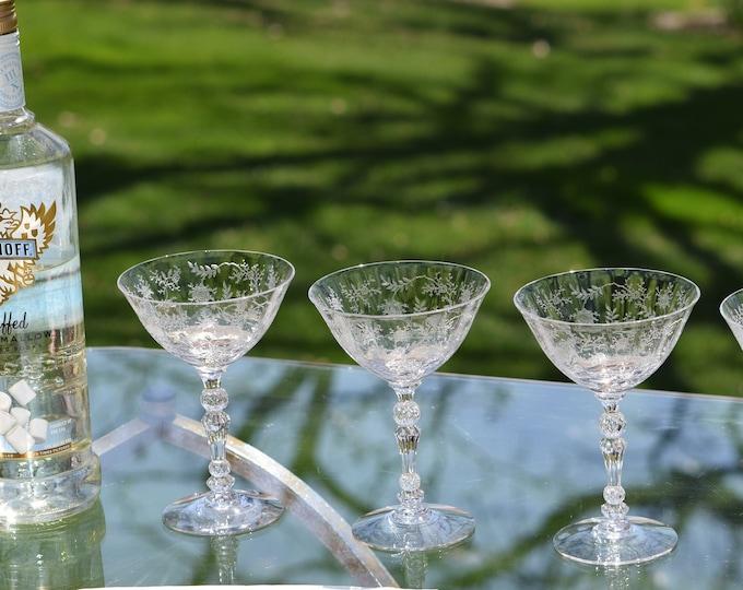5 Vintage Etched CRYSTAL Cocktail ~ Martini glasses, Fostoria, Chintz, circa 1940, Vintage Acid Etched Crystal Champagne Glasses, Weddings