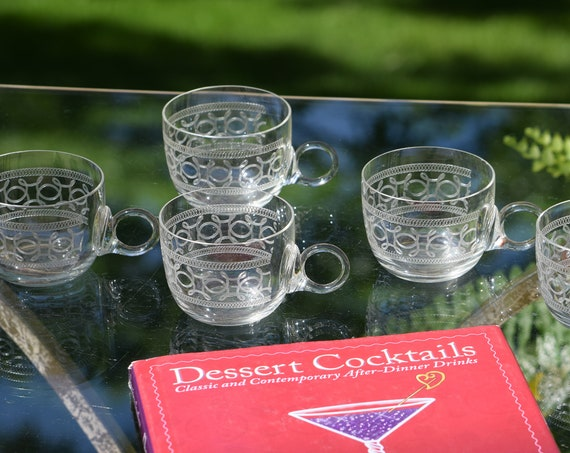 Antique Needle Etched Punch ~ Coffee ~ Cappuccino Cups, Set of 5, circa 1930's, Antique Punch Cups, Tea Party Coffee Cups