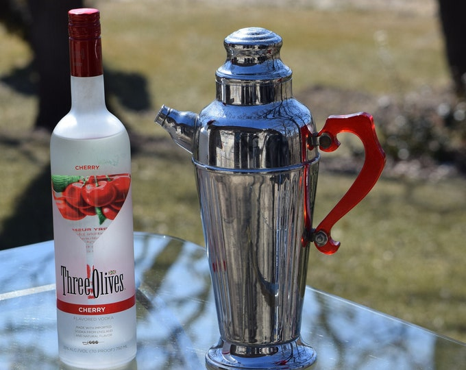 Vintage Silver with Red Lucite Martini Cocktail Shaker, Mad Men Barware, Martini Shaker, Home Bartender ~ Mixologist Gift, Bar Cart Decor