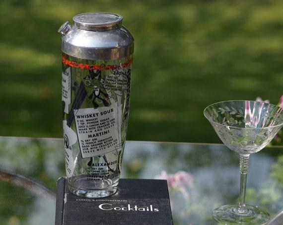 Vintage Cocktail Shaker, Mixologist Cocktail Shaker, Rock N Roll - 1950's ~ Drink Recipe Cocktail Shaker, Bar Cart Decor, Bar Accessories
