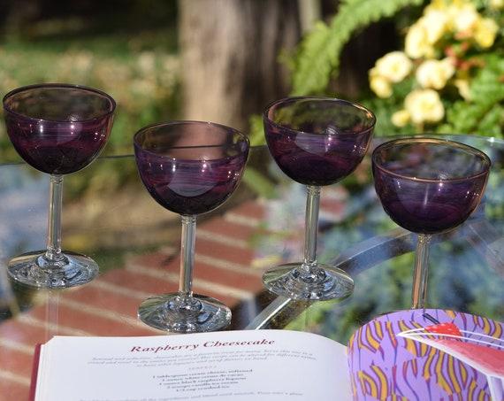 Vintage Purple Liquor ~ Wine ~ Cocktail Glasses,  Set of 5, Fostoria, circa 1949, After Dinner Drink 4 oz Glasses, Port ~ Dessert Wine Glass