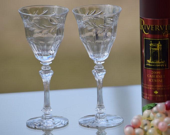 5 Vintage Etched Wine Glasses,  Tiffin Franciscan, Allegro, circa 1950's, 3 oz Wine glasses, After Dinner Port Wine Glass