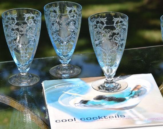 "Vintage Acid Etched Crystal Blue Cocktail ~ Wine Glasses, Set of 4, Fostoria, Versailles Blue, Ice Tea 6"", circa 1928, Craft Cocktails"