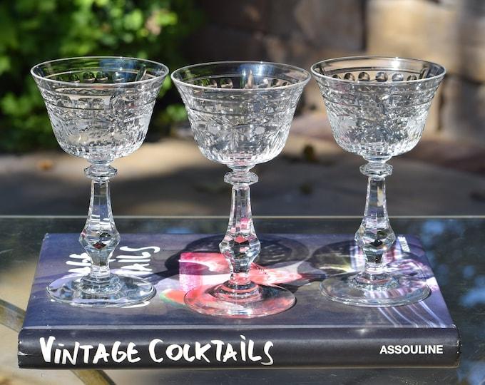 3 Vintage Etched CRYSTAL Cocktail Glasses, Rock Sharpe, Vintage Crystal Martini Glass, Wedding Toasting Champagne Glasses