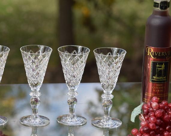 Vintage Etched Crystal Wine Cordials - Glasses,  Set of 4, Hawkes, Delft Diamond, 1950's, After Dinner Drink 2 oz Port Wine Liquor glasses