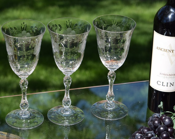 Vintage Etched Wine Glasses, Set of 4, Cambridge, Lucia, 1940's, Tall Vintage Etched Stem Wine Glasses, Vintage Water Goblets