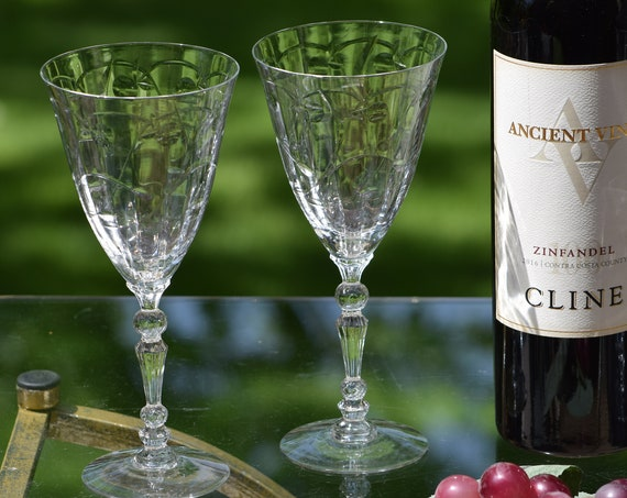 Vintage CRYSTAL Wine glasses, Set of 6,  Fostoria ~ Mulberry ~ circa 1940-1959, Tall Wine ~ Water Glasses 6 oz,  Wedding Toasting Glasses