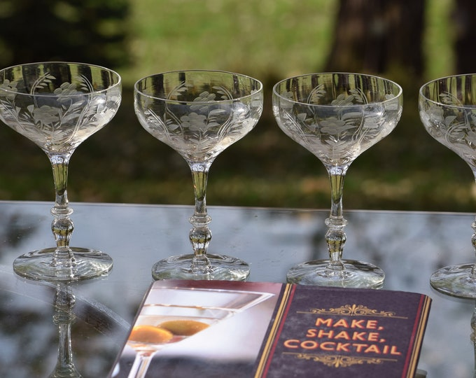 6 Vintage Etched Cocktail ~ Martini glasses, circa 1940's, Vintage Etched Champagne Coupes, Mixologists Cocktail Glasses, Home Bar Glasses