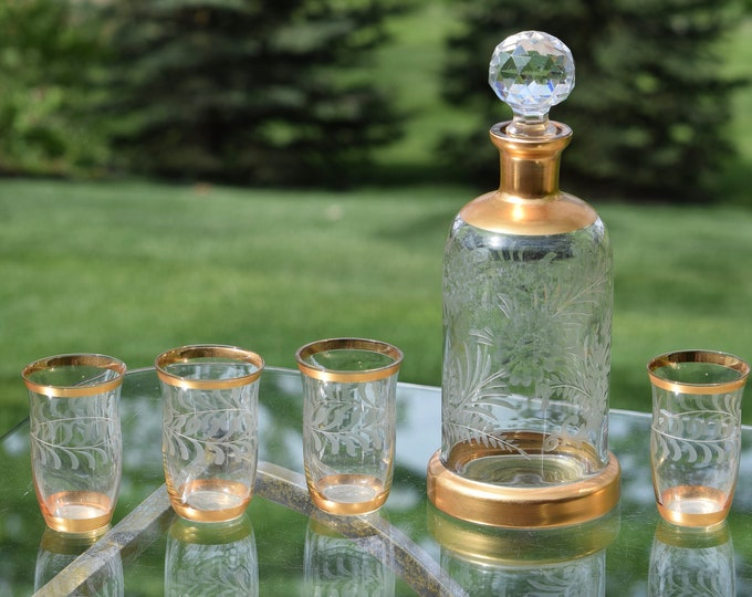Vintage Gold Etched Liqueur ~ Wine Decanter with matching etched cordials After Dinner Drink Liqueur Cordials,  Port ~ Dessert Wine Cordials