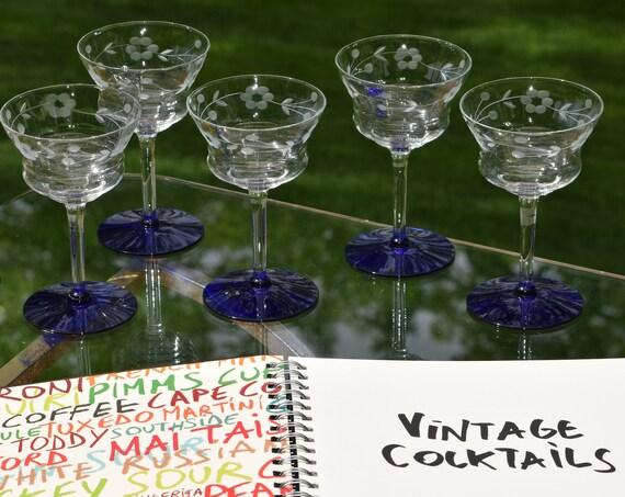 Vintage Etched Cobalt Blue Cocktail Glasses, Set of 6, Mixologist Craft Cocktail glasses,  Vintage Manhattan ~ Martini Glasses