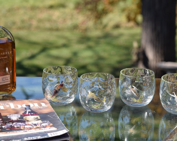 Vintage NED SMITH Birds Wildlife Roly Poly Glasses, Set of  4, Bar Cart Decor, Whiskey, Bourbon, Scotch Glasses, Ned Smith Collectors