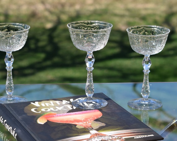 EXQUISITE Vintage Etched Crystal Tall Cocktail Glasses, Set of 4,  Mixologist Craft Cocktail, Antique Crystal Cocktail Coupes, circa 1940's