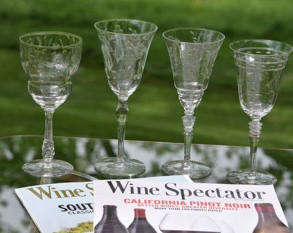 Vintage Etched Wine Glasses, Set of 4,  Set of 4 Mis-Matched Etched Wine Glasses, Wine Glass Collector, Antique Wine Glasses