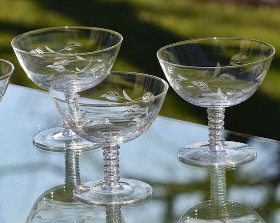 Vintage Etched Cocktail Martini Glasses, Set of 6, Vintage Champagne Coupes, Manhattan Cocktail Glasses, Champagne Glasses