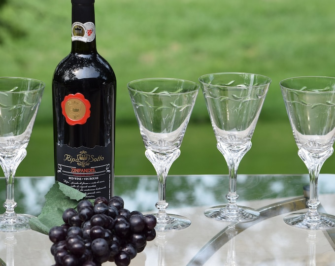 RESERVED - SOLD --  6 Vintage Crystal Wine Glasses ~ Water Goblets, Set of 6 Tiffin Franciscan, circa 1950's, Crystal 8 oz Wine Glasses,
