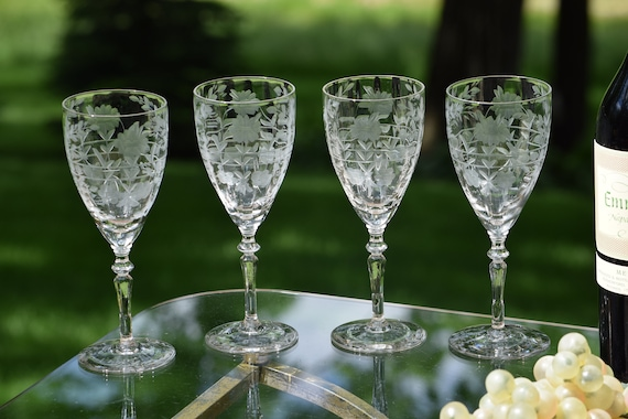 Vintage Etched Optic Wine Glasses, Set of 4,  Floral Etched Wine glasses, Elegant Vintage Wedding Toasting Glasses