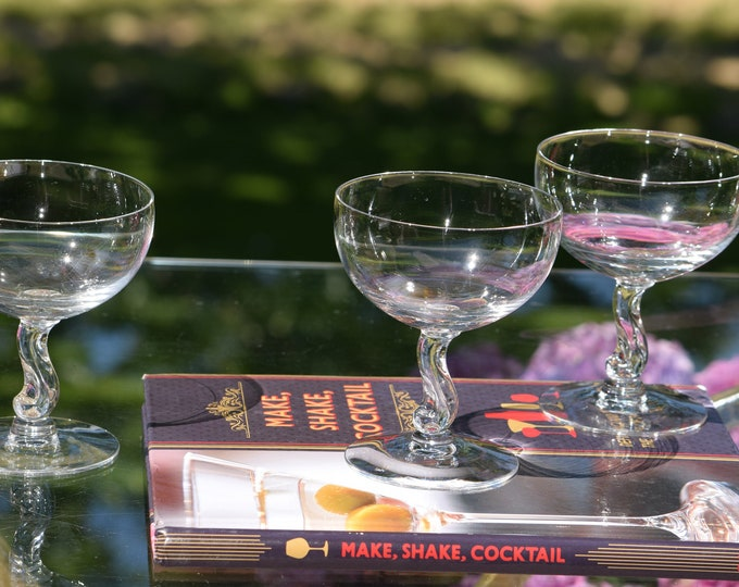 4 Vintage CRYSTAL Champagne Coupes - Cocktail Glasses, Fostoria, Contour, 1955,  Crystal Cocktail Coupes, Nick & Nora Cocktail Coupes