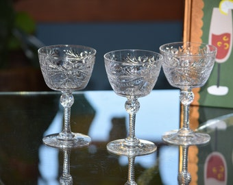 Vintage CRYSTAL Cocktail Glasses, Set of 4,  Pairpoint, c. 1937,  Cut Crystal Champagne Glasses, Vintage Wedding Glasses ~ Toasting Glasses