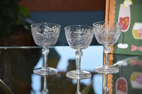 Vintage CRYSTAL Cocktail Glasses, Set of 4,  Pairpoint, c. 1937,  Cut Crystal Champagne Glasses, Vintage Wedding Glasses ~ Toasting Glasses